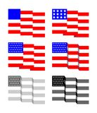 Waving Stars And Straps American Flag. Vector Illustration Of Flapping Flag Of United States Of America Stock Images