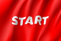 Waving start flag, red field. Realistic banner. Word for motivation, the beginning of something, a signal or command. Vector illustration of a sign Royalty Free Stock Photos