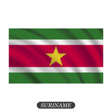 Waving Suriname flag on a white background. Vector illustration Stock Photos