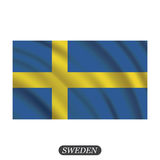 Waving Sweden flag on a white background. Vector illustration Royalty Free Stock Photo