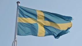 Waving Swedish flag stock video footage