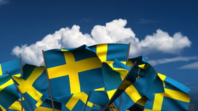 Waving Swedish Flags stock video