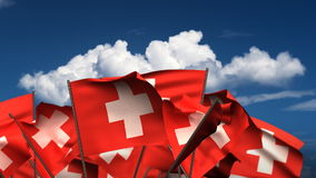 Waving Swiss Flags stock footage