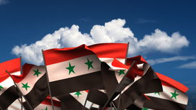 Waving Syrian Flags stock footage