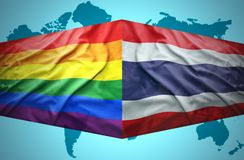 Waving Thai and Gay flags Royalty Free Stock Image