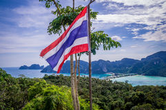 Waving Thailand flag at PhiPhi Island viewpoint Royalty Free Stock Images