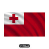 Waving Tonga flag on a white background. Vector illustration Stock Photography