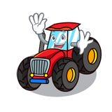 Waving tractor character cartoon style. Vector illustration royalty free illustration