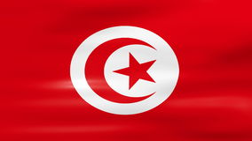 Waving Tunisia Flag, ready for seamless loop.  stock footage