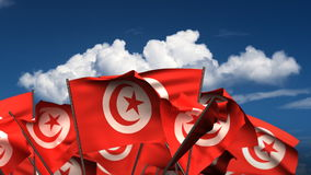 Waving Tunisian Flags. (seamless & alpha channel stock video