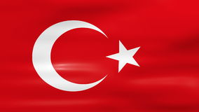 Waving Turkey Flag, ready for seamless loop.  stock footage