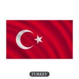 Waving Turkey flag on a white background. Vector illustration Stock Image