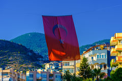 Waving Turkish flag in Alanya Stock Photo