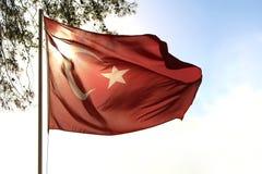 Waving Turkish flag. Royalty Free Stock Photos