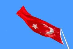 Waving Turkish flag on blue sky Royalty Free Stock Photos