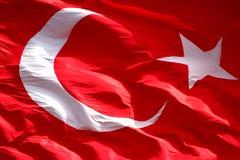 Waving Turkish flag, macro shot Stock Photos