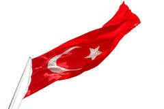 Waving Turkish flag on white background Stock Image
