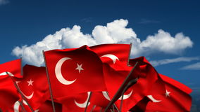 Waving Turkish Flags. (seamless & alpha channel stock video