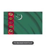 Waving Turkmenistan flag on a white background. Vector illustration Stock Photos