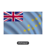 Waving Tuvalu flag on a white background. Vector illustration Royalty Free Stock Images