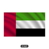 Waving UAE flag on a white background. Vector illustration Stock Photography