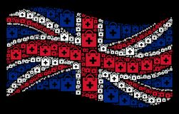Waving UK Flag Mosaic of First Aid Kit Icons. Waving UK flag on a black background. Vector first aid kit items are organized into mosaic UK flag illustration Stock Images