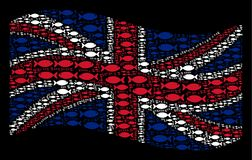Waving UK Flag Mosaic of Fish Pair Icons. Waving British official flag on a black background. Vector fish pair icons are formed into mosaic British flag Stock Photography