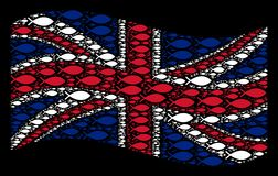 Waving UK Flag Pattern of Fish Icons. Waving United Kingdom official flag on a black background. Vector fish elements are scattered into conceptual United Stock Photos