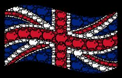 Waving UK Flag Pattern of Piggy Bank Icons. Waving Great Britain flag on a black background. Vector piggy bank icons are grouped into mosaic Great Britain flag Stock Photo