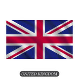 Waving UK flag on a white background. Vector illustration Royalty Free Stock Images