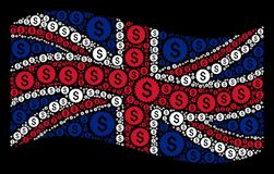 Waving United Kingdom Flag Collage of Bank Seal Items. Waving UK official flag on a black background. Vector bank seal items are combined into geometric UK flag Royalty Free Stock Photos