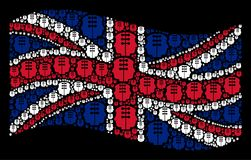 Waving British Flag Mosaic of Dual Head Interface Items. Waving UK official flag on a black background. Vector dual head interface pictograms are placed into Royalty Free Stock Photo