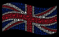 Waving United Kingdom Flag Mosaic of CIA Text Items vector illustration