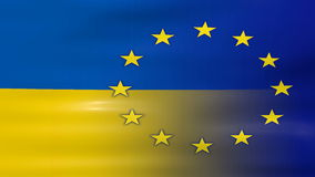 Waving Ukraine and EU Flag, ready for seamless loop.  stock video footage