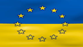 Waving Ukraine and EU Flag, ready for seamless loop.  stock video