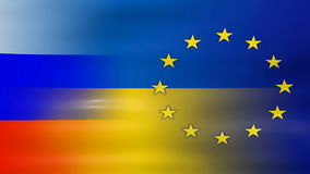 Waving Ukraine, EU and Russia Flag, ready for seamless loop Royalty Free Stock Image