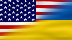 Waving Ukraine and USA Flag, ready for seamless loop.  stock footage