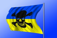 Waving pirate flag combined with Ukrainian flag Royalty Free Stock Photo