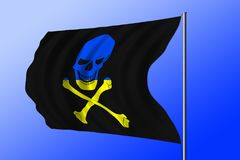 Waving pirate flag combined with Ukrainian flag Stock Image