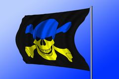 Waving pirate flag combined with Ukrainian flag Royalty Free Stock Photography