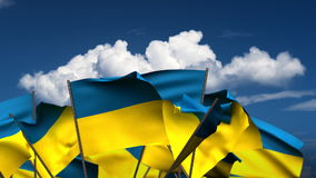 Waving Ukrainian Flags Stock Photo