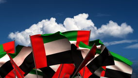 Waving United Arab Emirates Flags stock video