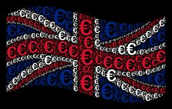 Waving United Kingdom Flag Collage of Euro Symbol Items. Waving UK state flag on a black background. Vector Euro symbol elements are scattered into conceptual Royalty Free Stock Image