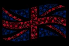 Waving United Kingdom Flag Mesh Illustration with Light Effect royalty free stock photography