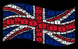 Waving British Flag Pattern of Banknotes Items. Waving United Kingdom official flag on a black background. Vector banknotes icons are arranged into geometric UK Royalty Free Stock Photo