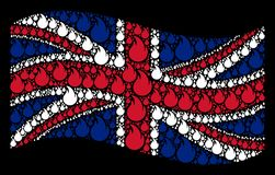 Waving British Flag Mosaic of Fire Flame Icons. Waving United Kingdom state flag on a black background. Vector fire flame elements are united into geometric Royalty Free Stock Image