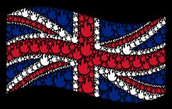 Waving United Kingdom Flag Mosaic of Fire Flame Items. Waving United Kingdom state flag on a black background. Vector fire flame icons are arranged into Stock Photo