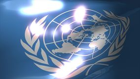 Waving United Nation flag animation. stock video footage
