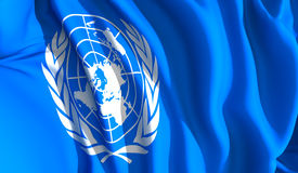 Waving united nations. A waving cloth presenting the united nations emblem Royalty Free Stock Photography