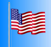 Waving USA flag on azure sky background. Can be used for logos, business identity, print products, page and web decor, signs, placards, backgrounds or other Stock Photos
